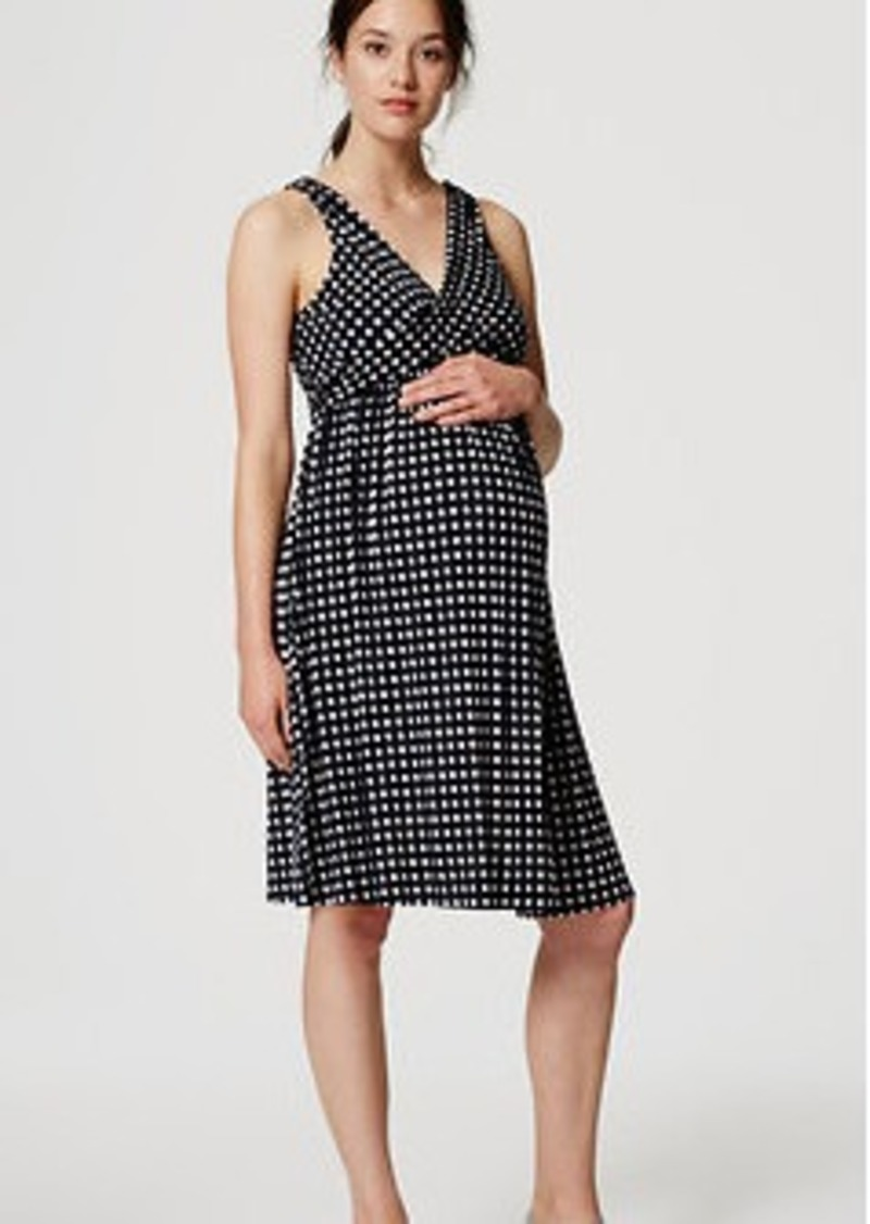 LOFT Petite Maternity Mosaic Double V Flare Dress