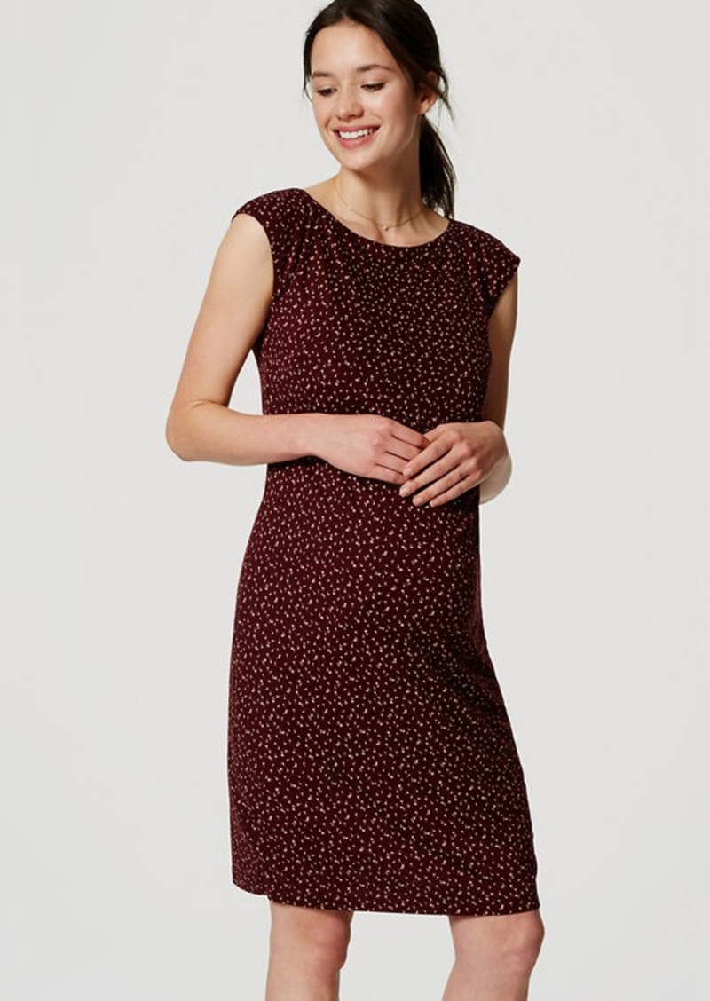 LOFT Petite Maternity Petal Toss Side Shirred Dress