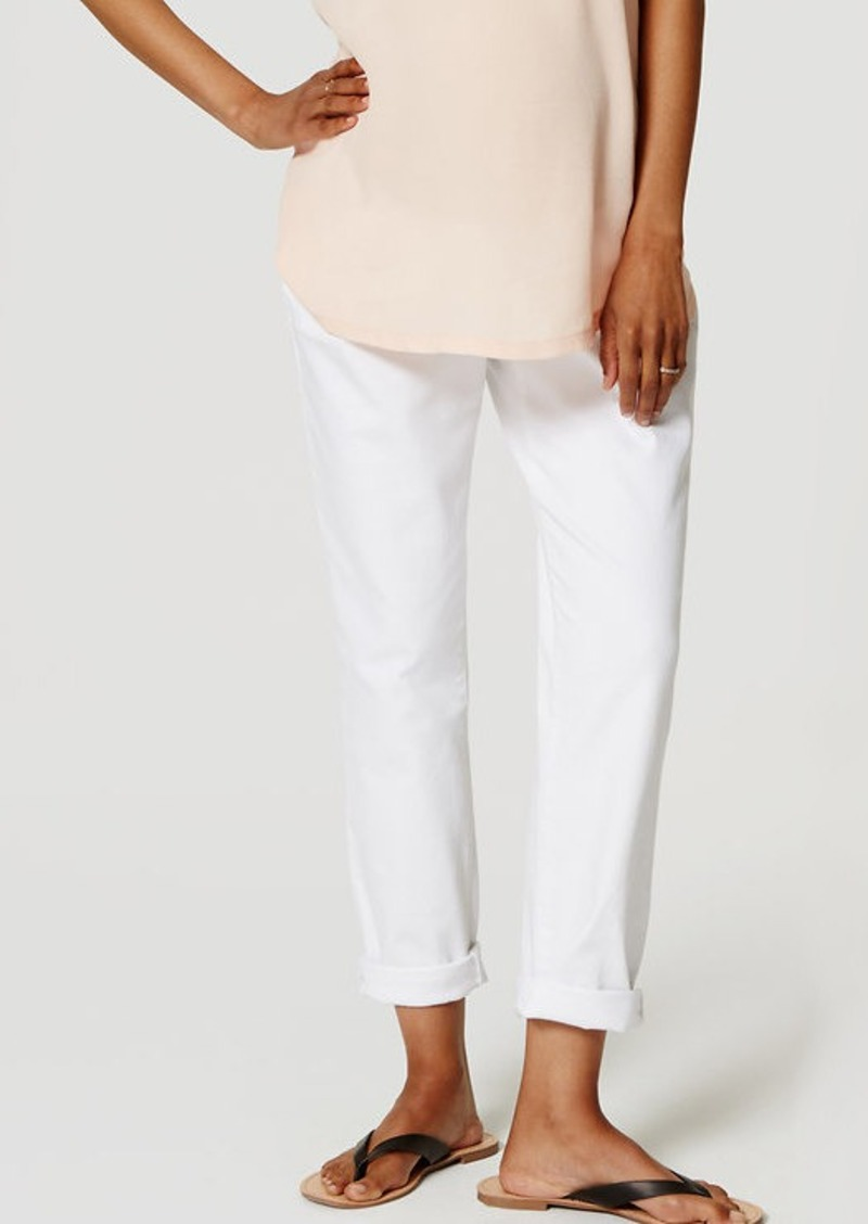 LOFT Petite Maternity Relaxed Skinny Jeans in White