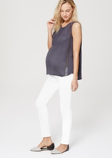 Petite Maternity Roll Panel Skinny Jeans in White