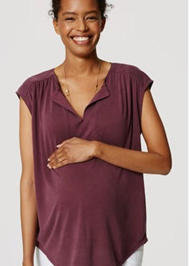 LOFT Petite Maternity Sandwashed Split Neck Top
