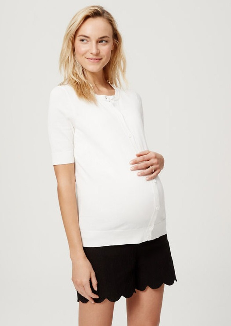LOFT Petite Maternity Short Sleeve Cotton Cardigan | Sweaters ...