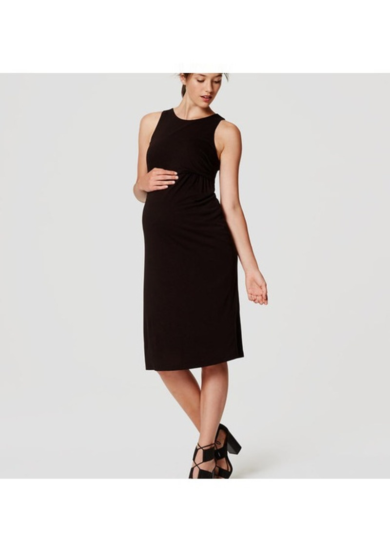 LOFT Petite Maternity Sleeveless Side Shirred Dress