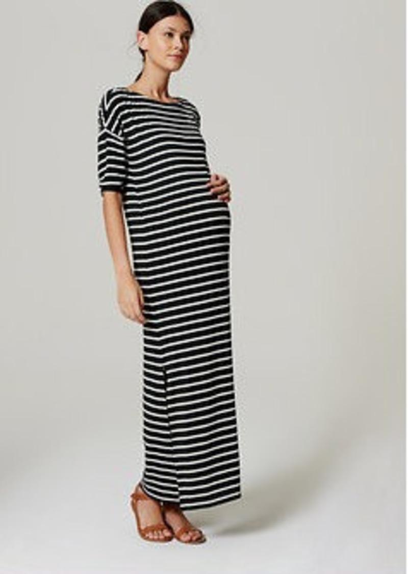 LOFT Petite Maternity Striped 3/4 Sleeve Maxi Dress