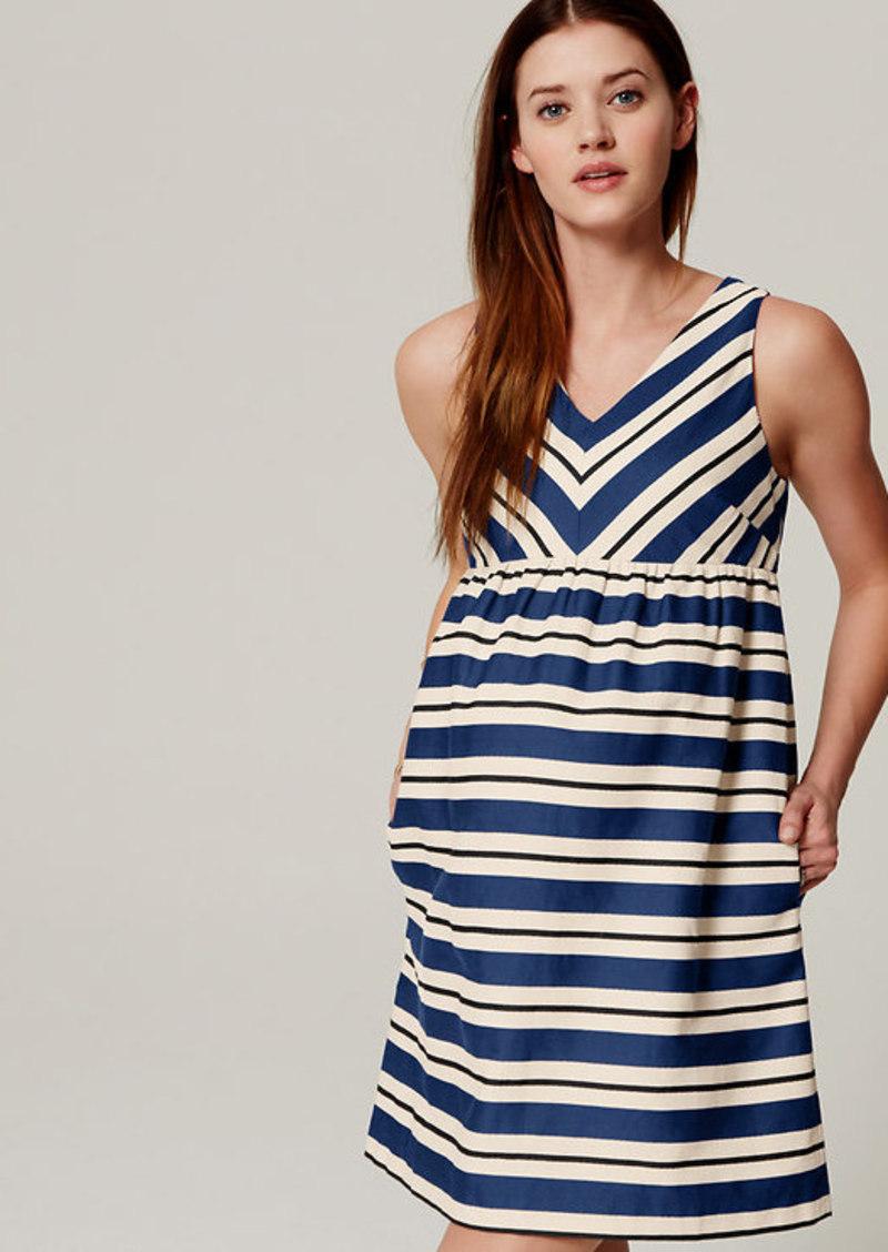 LOFT Petite Maternity Striped Flare Dress