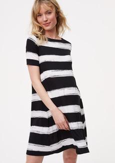 Petite Maternity Striped Swing Dress