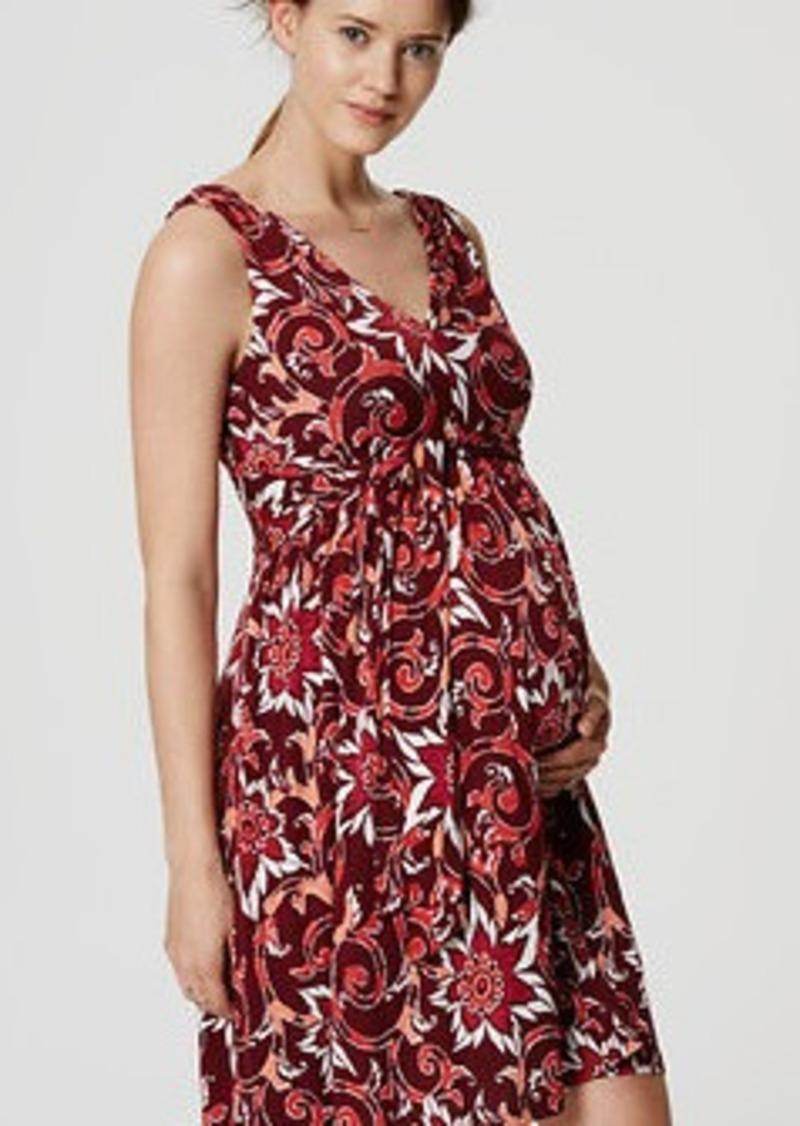 LOFT Petite Maternity Tie Double V Flare Dress