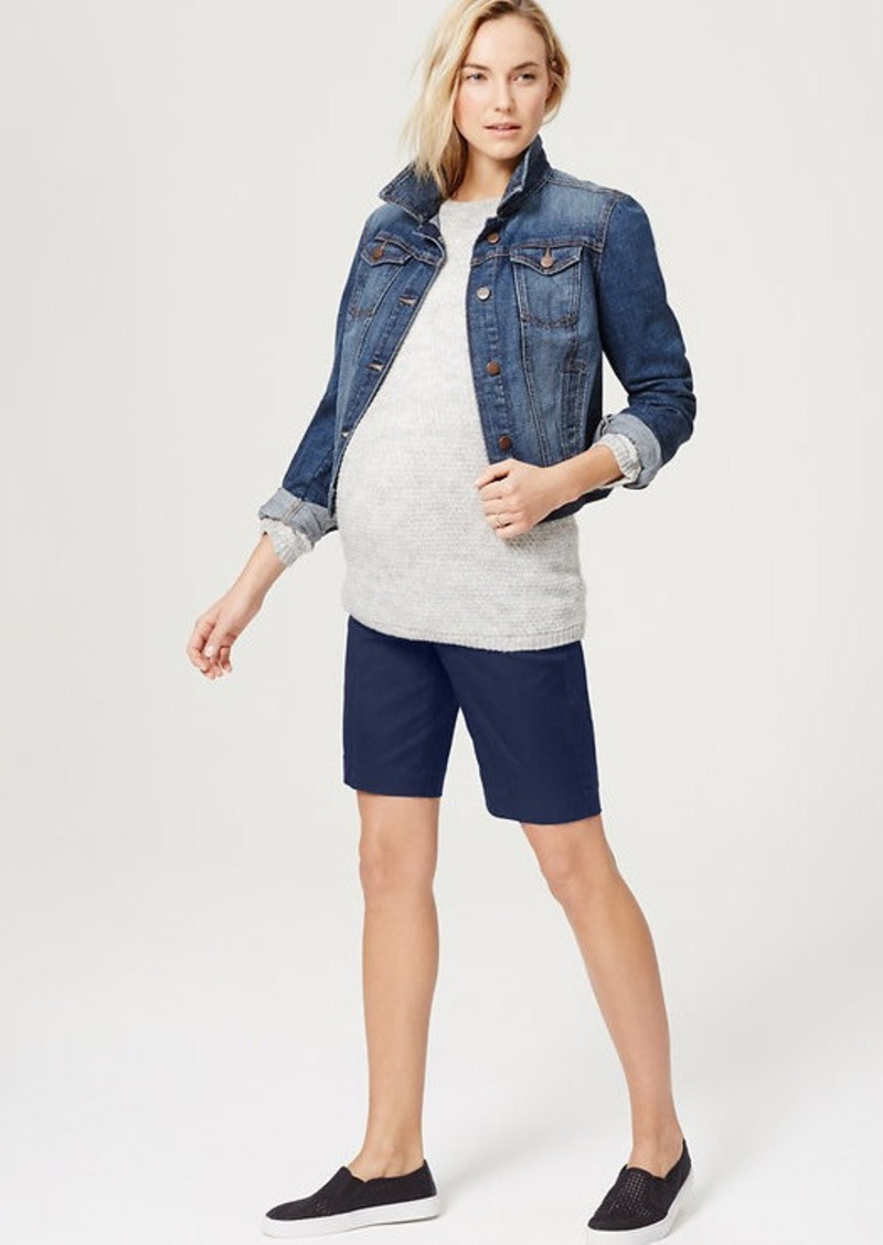 LOFT Petite Maternity Walking Shorts with 9 Inch Inseam