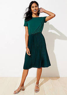 LOFT Petite Mixed Media Pleated Dress
