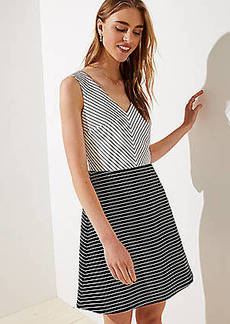 LOFT Petite Mixed Stripe Flare Dress