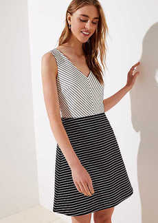 LOFT Petite Mixed Stripe Flare Dress