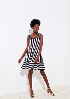 LOFT Petite Striped Flounce Sleeveless Swing Dress