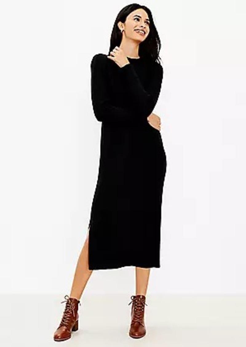 LOFT Petite Mock Neck Midi Sweater Dress