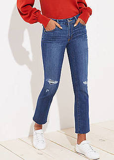 LOFT Petite Modern Destructed Straight Leg Jeans in Mid Indigo Wash