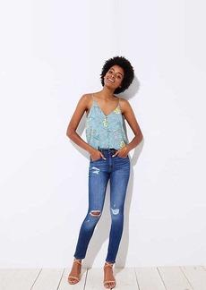 LOFT Petite Modern Distressed High Waist Skinny Jeans in Mid Indigo Wash