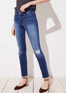 LOFT Petite Modern Distressed Straight Leg Jeans in Mid Indigo Wash