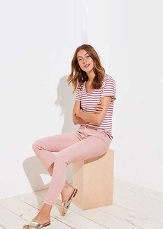 LOFT Petite Modern Double Frayed Skinny Crop Jeans in Pink