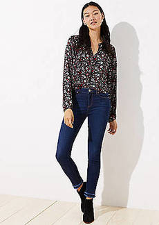 LOFT Petite Modern Double Frayed Skinny Jeans in Dark Indigo Wash