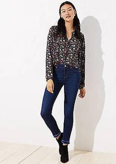 LOFT Petite Modern Double Frayed Skinny Jeans in Dark Indigo Wash