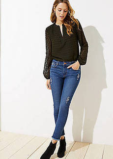 LOFT Petite Floral Embroidered Slim Pocket Skinny Jeans in Original Mid Indigo Wash