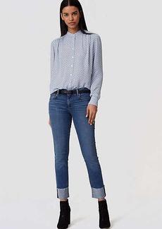 LOFT Petite Modern Frayed Cuff Straight Leg Jeans in Medium Blue Wash