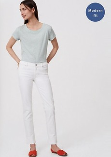 LOFT Petite Modern Frayed Cuff Straight Leg Jeans in White