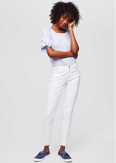 LOFT Petite Modern Frayed Skinny Ankle Jeans in White