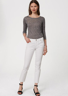 Petite Modern Frayed Skinny Ankle Jeans in White