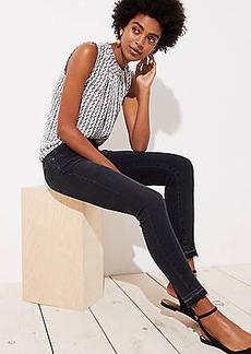 LOFT Petite Modern Front Seam Unpicked Skinny Jeans in Washed Black