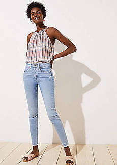 LOFT Petite High Rise Slim Pocket Frayed Skinny Jeans in Light Indigo