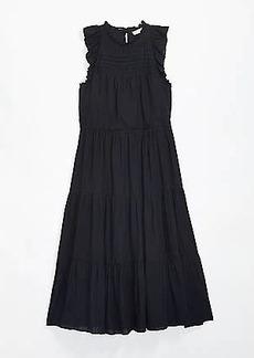 LOFT Petite Striped Pintucked Ruffle Midi Dress