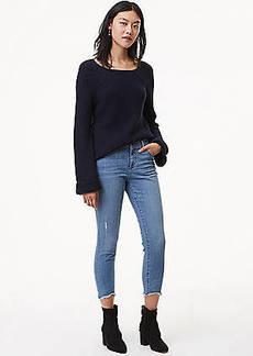 LOFT Petite Modern Skinny Chewed Hem Jeans in Bright Mid Indigo Wash