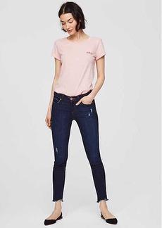 LOFT Petite Modern Skinny Chewed Hem Jeans in Dark Indigo Wash