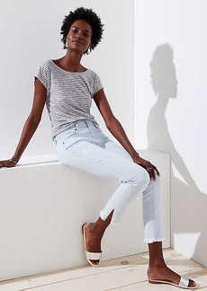 LOFT Petite Modern Slit Frayed Skinny Crop Jeans in Pale Indigo
