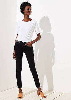 LOFT Petite Modern Striped Waist Skinny Jeans in Washed Black