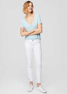 LOFT Petite Modern Twist Seam Skinny Jeans in White