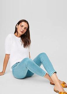 LOFT Petite Modern Unpicked Skinny Crop Jeans in Mineral Blue