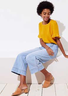 LOFT Petite Modern Wide Leg Crop Sailor Jeans in Classic Light Indigo Wash