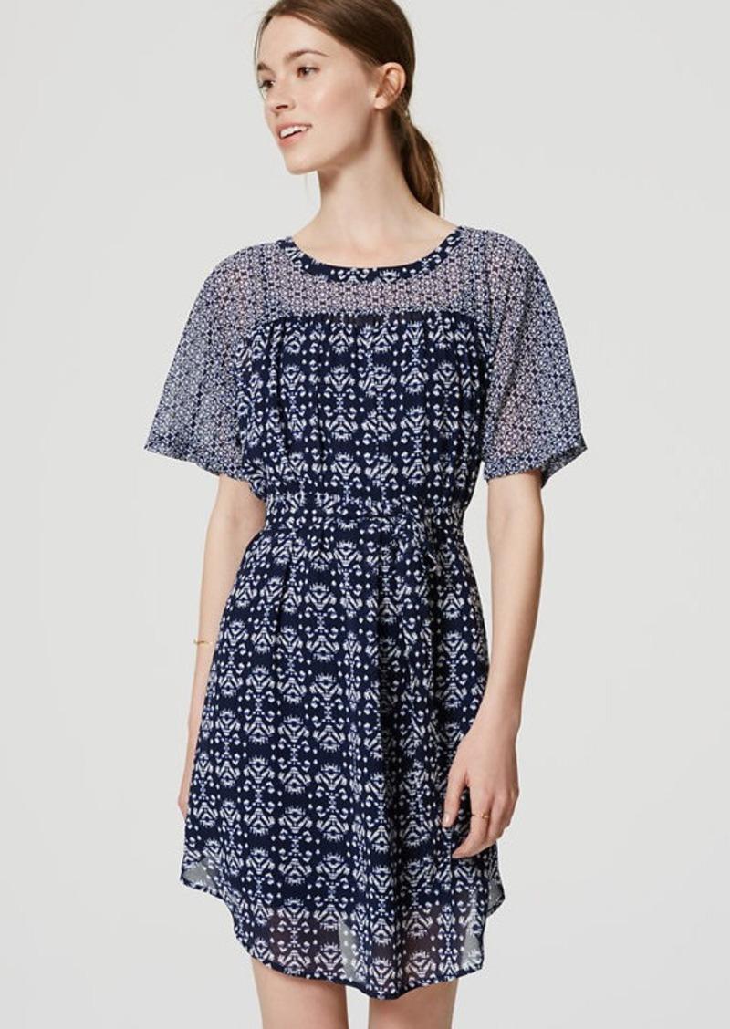 LOFT Petite Mosaic Tie Waist Dress