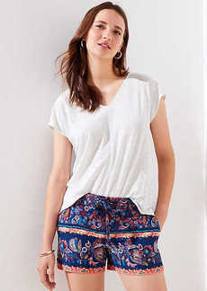 LOFT Petite Paisley Tie Waist Shorts
