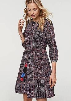 LOFT Petite Patchwork Tassel Tie Waist Dress