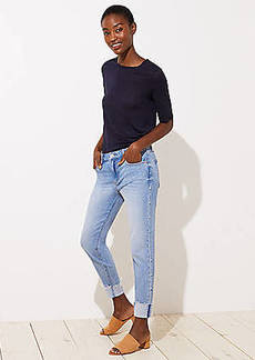 LOFT Petite Pearlized Trim Flip Cuff Skinny Jeans in Staple Light Indigo Wash