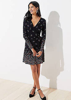 LOFT Petite Petaled Long Sleeve Wrap Dress