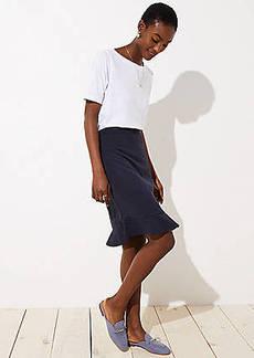 LOFT Petite Pinstripe Flounce Pencil Skirt