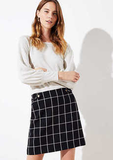 LOFT Petite Plaid Button Tab Pocket Skirt