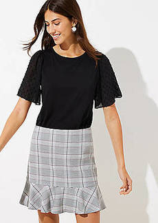 LOFT Petite Plaid Ruffle Skirt