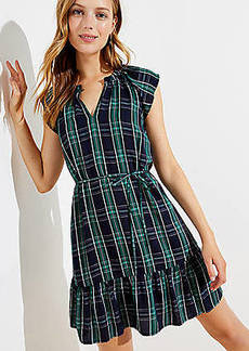 LOFT Petite Plaid Split Neck Tie Waist Dress