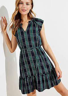 LOFT Petite Plaid Split Neck Tie Waist Dress