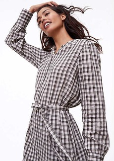 Petite Plaid Tie Waist Shirtdress