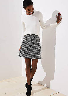 LOFT Petite Plaid Zip Pocket Shift Skirt